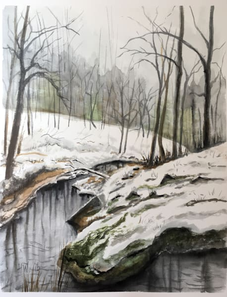 The Brook at Stowe Hill watercolor painting
