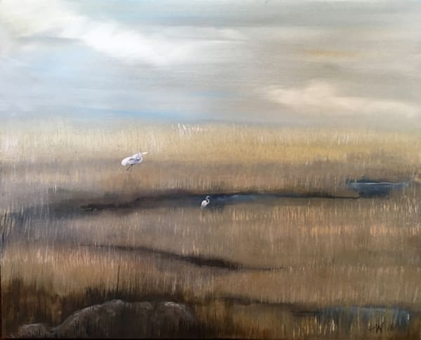 Marsh With Egrets Art | Holly Whiting Art