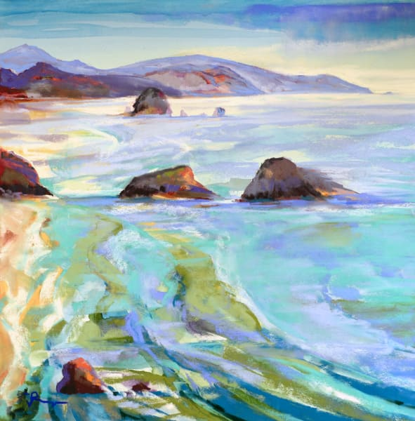 landscape painting ecola state park oregon coast