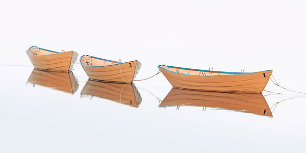 """Three Dories"" Large Fine Art Wooden Boat Photography"
