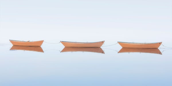 """Three Dories II"" Fine Art Wooden Boat Nautical Panoramic Photograph"