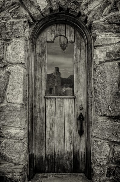 Sepia Toned B&W Photo Cherokee Ranch Castle Old Wooden Door