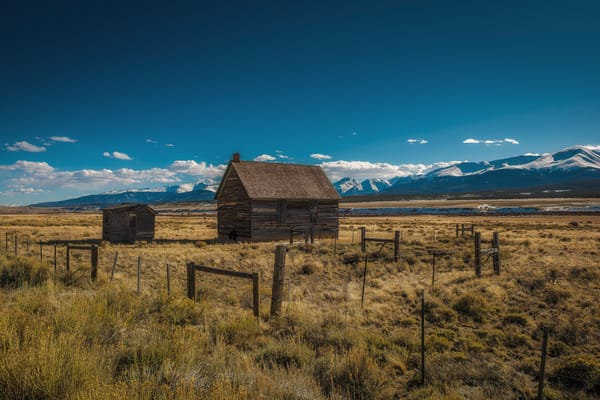 Landscape Photograph Old Ranch Farm Homestead with Outhouse