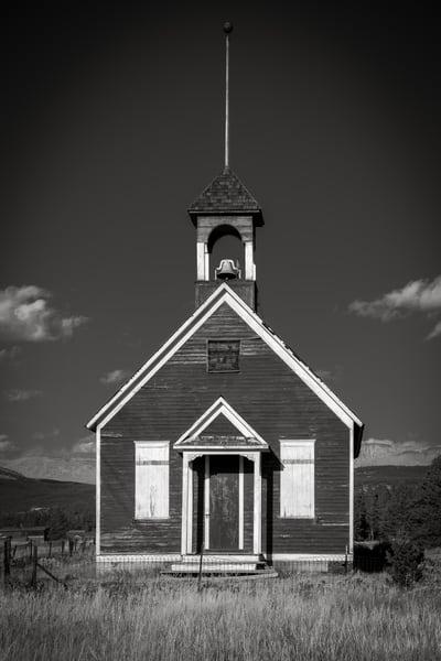 Selenium Toned Black & White Photo One Room Schoolhouse Leadville Colorado