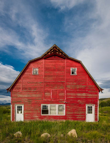 Photograph of a Rustic Red Barn in Granby Colorado