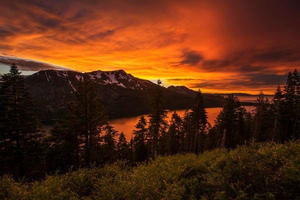 Fiery Skies over Fallen Leaf Lake - Lake Tahoe Sunset Print