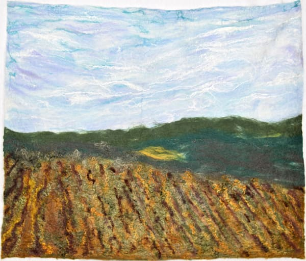 Autumn Vineyard original fine art felted wall hanging