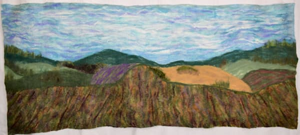 Hillside Vineyard felted wall hanging