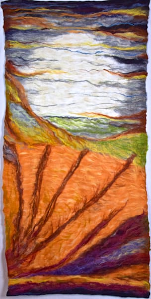 Harvest Moonrise Felted wall hanging