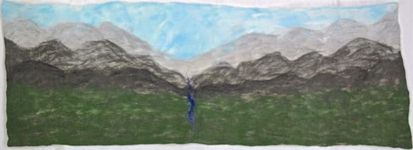 Colorado Mountains scene fine art felting wall hanging