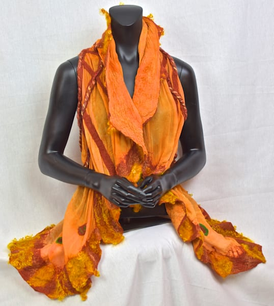 Custom felted silk orange women's vest