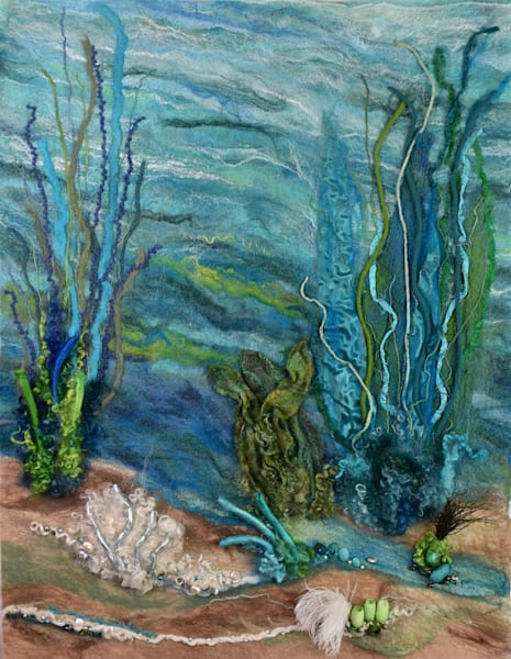 Aqua Sea Life Original Felted artwork