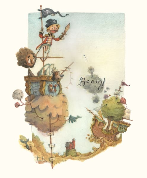 The Prairie Pirates Watercolor Illustration Painting by Wet Paint NYC Artist James Serafino