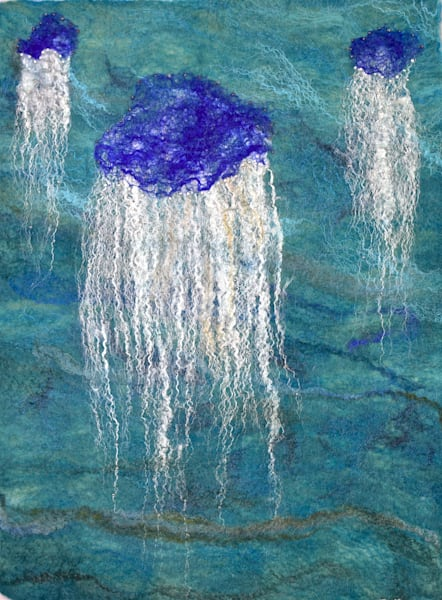 Jellyfish original felted wall art