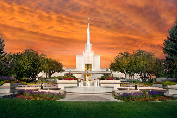 Denver Temple - Orange Sky
