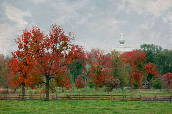 Nauvoo Temple - Red Trees