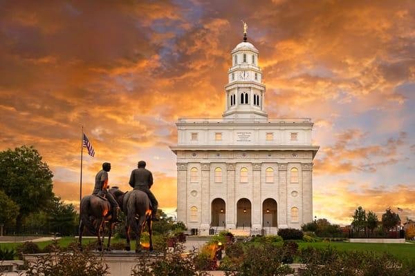 Nauvoo Temple - Sunrise with Joseph and Hyrum