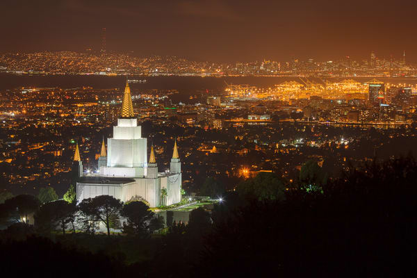 Oakland Temple - Night with Bay