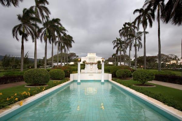 Laie Hawaii Temple - Stormy Sky