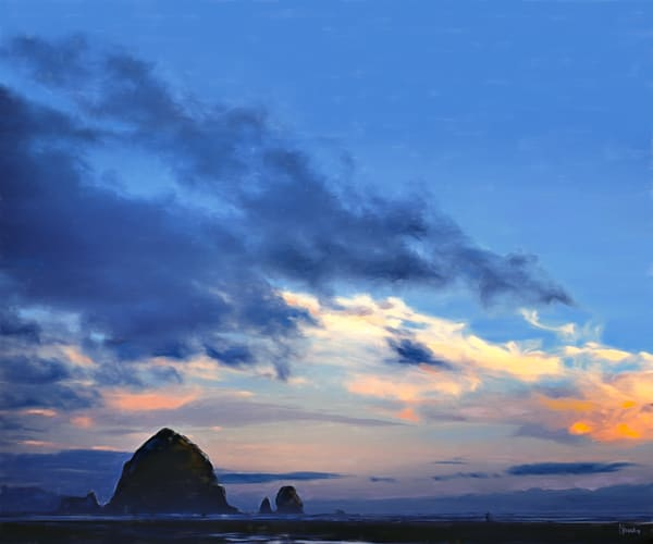 Cannon Beach in Blue painting by Christina Stefani–print options