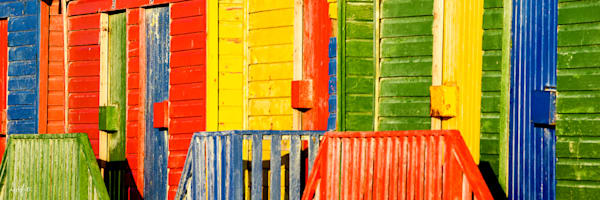 Abstract panorama of Muizenberg cabanas as fine art photograph