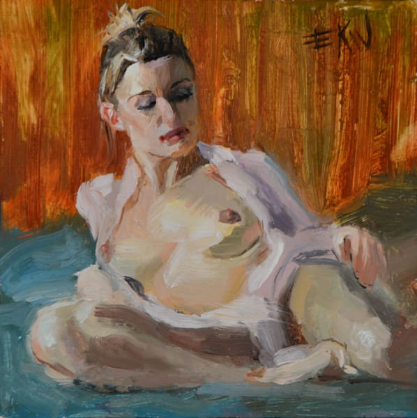 "Original oil by Eric Wallis titled ""On A Bed"""