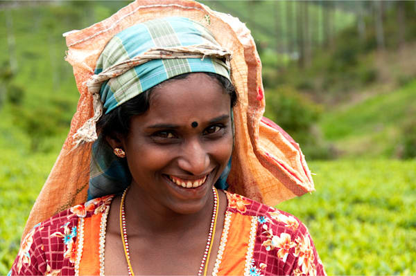A portrait of a Tamil tea plantation worker, in a art photograph print