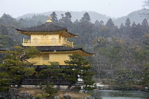 Kinkaku-ji  temple during snow storm, fine art photograph