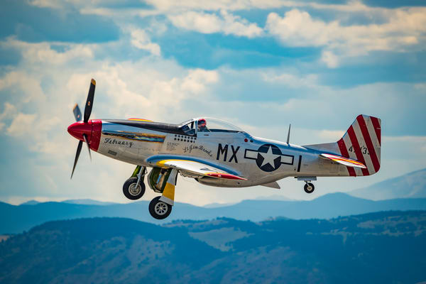 Photo P-51D Mustang February in Flight Over Colorado's Rocky Mountains