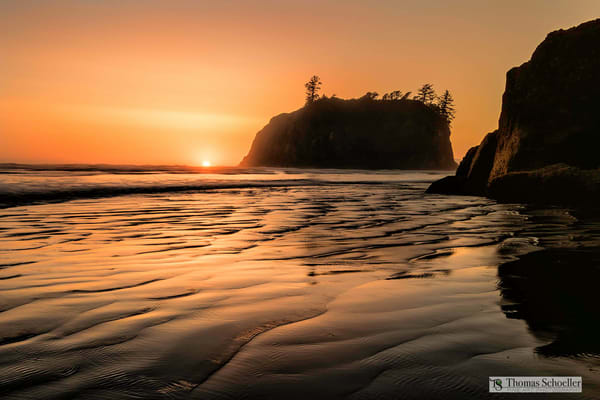 A silken smooth Ruby Beach at sunset/Olympic National Park Washington state scenic landscape fine art photography decor prints