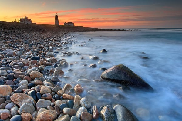 """Point Judith Sunrise"" Rhode Island Coast Lighthouse Fine Art Photograph"