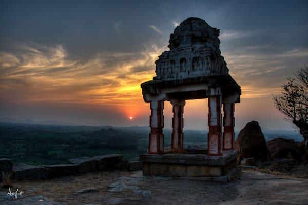 Fine art photograph of old Hindu ruin at sunset