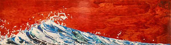 Crimson Japanese-style wave original art using chopstick drip painting