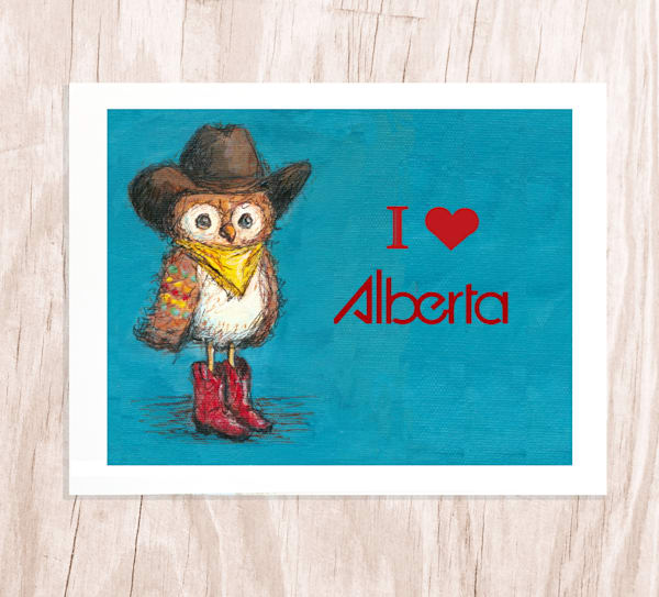 Alberta Cowboy Owl: Greeting Card