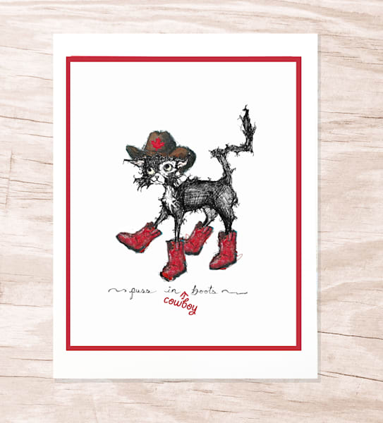 Cowboy Cat Greeting Card by jennydaledesigns