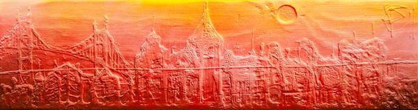 City Haze II, Original Textured Drip Painting