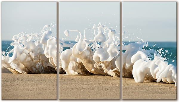 Foamy Flute Canvas Triptych by Steve Munch