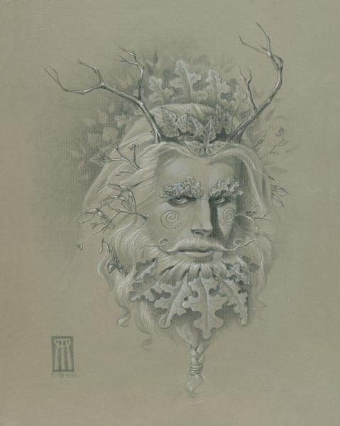 Beautiful Drawing of Green Man to decorate your Pagan altar! | Melissa Benson Illustration
