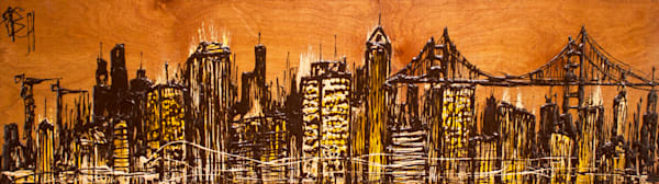 Natural City II, cityscape drip painting created with chopsticks