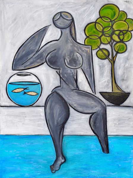 Poolside with Goldfish Painting by Wet Paint NYC Artist Paul Zepeda