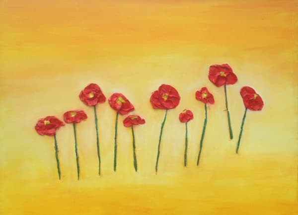 Thick Texture 3D Poppies with Yellow Background