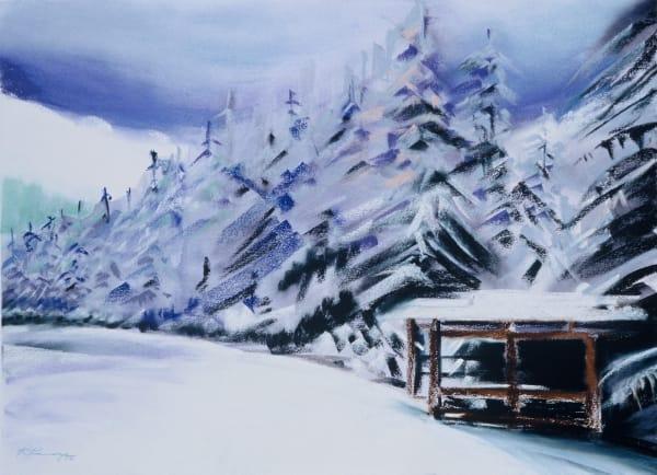 landscape painting mt hood winter