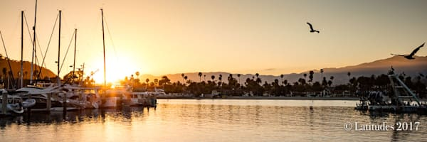 Santa Barbara Harbor Sunset - Panoramic W8A3787-2