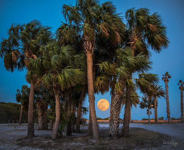 The sun sets as the moon rises on the waters of Tampa Bay. | photographs art
