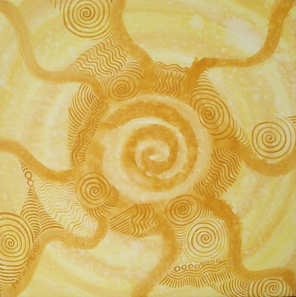 Sun Spiral abstract oil painting by Paula Manning-Lewis
