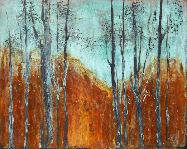 Cold Mountain original semi-abstract landscape painting for sale