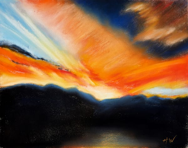 Rocky Mountain Sunrise pastel painting by Holly Whiting