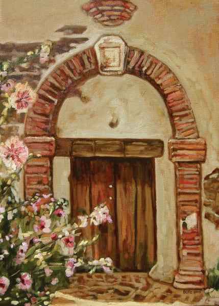 mission door with flower