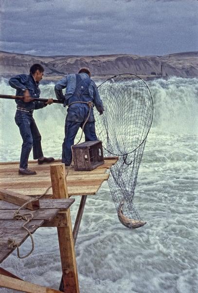Celilo Falls – Salmon Catch photograph by Richard Stefani – Stefani Fine Art
