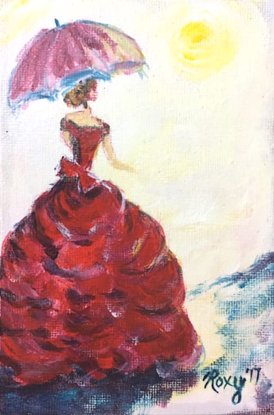 Victorian Lady with Parasol Original Painting by Roxy Rich